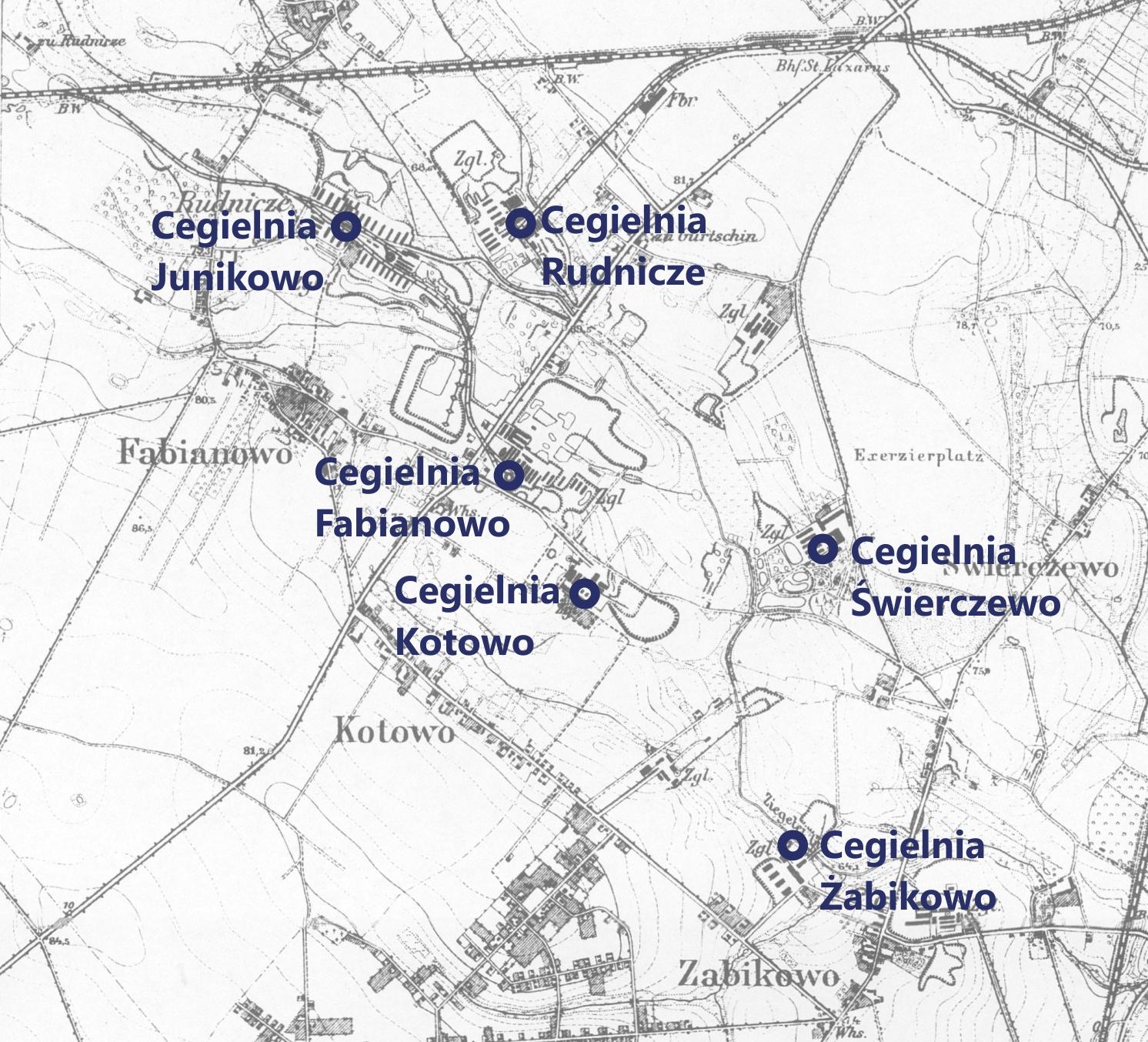 Cegielnie na planie Poznania z 1919 r. - http://igrek.amzp.pl/5230